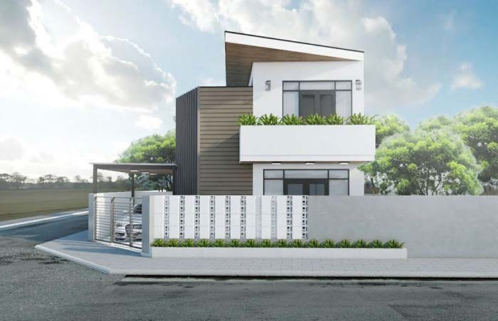 Marrom e branco na fachada da casa moderna.
