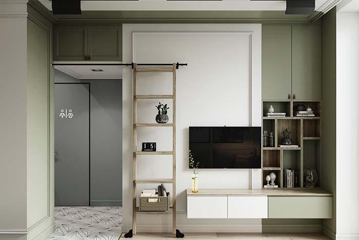 Apesar do estilo mais retrô dos armários, essa sala continua moderna graças a sua limpeza visual.