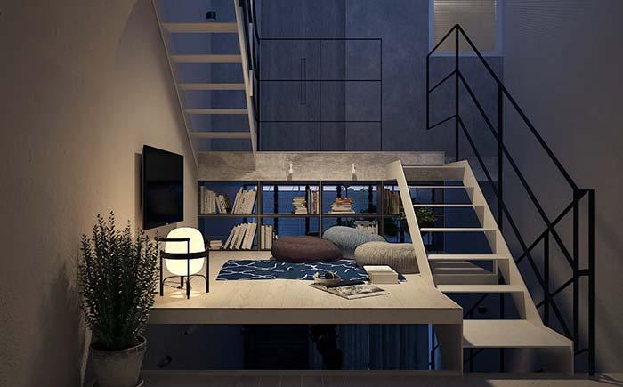 Mini sala no mezanino: nenhum espaço fica sem utilidade na arquitetura moderna.