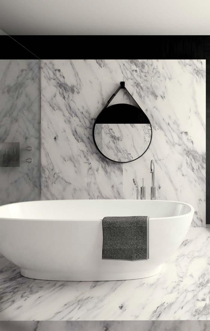 Mármore branco em projeto moderno e minimalista