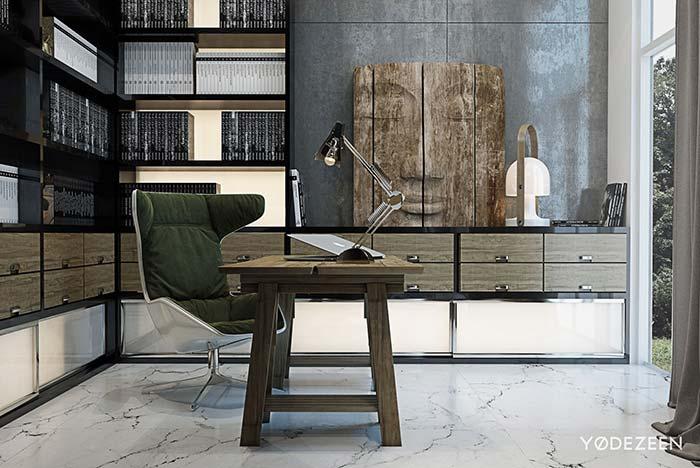 Piso de mármore branco no escritório