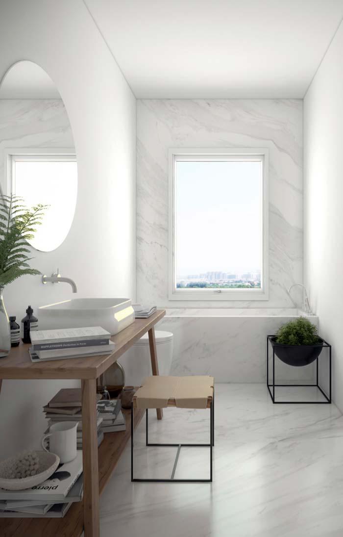 Mármore branco para banheiro clean e suave