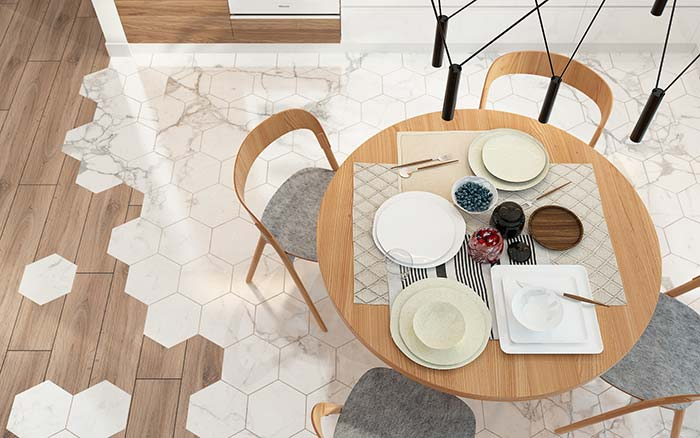 Piso hexagonal de mármore branco Sivec