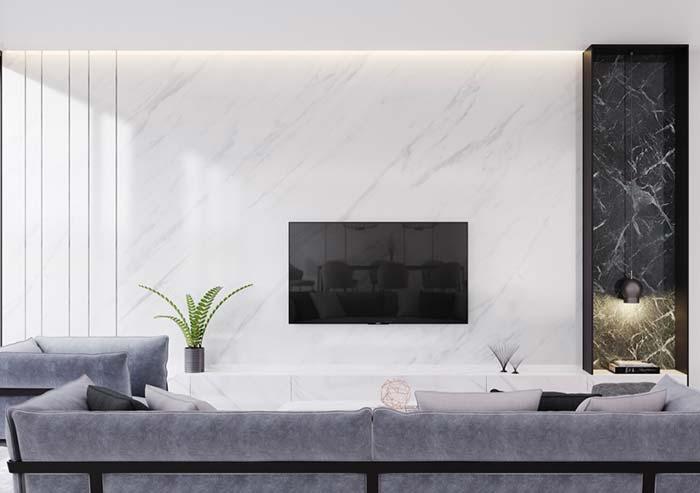Composição de mármore branco com mármore preto