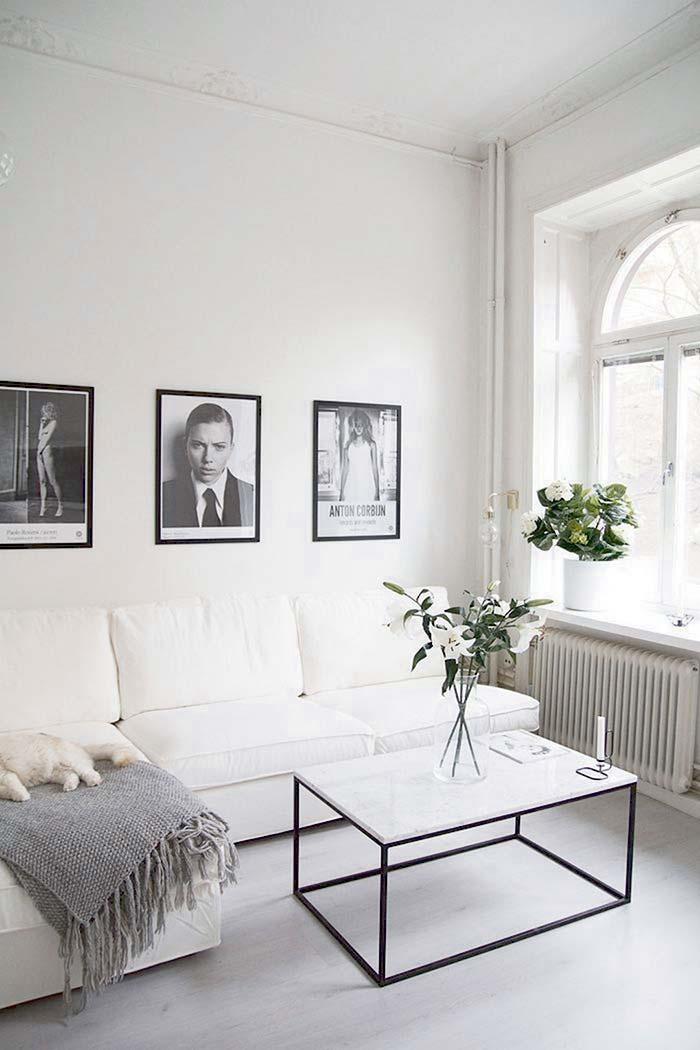Tampo da mesa central da sala com mármore Branco