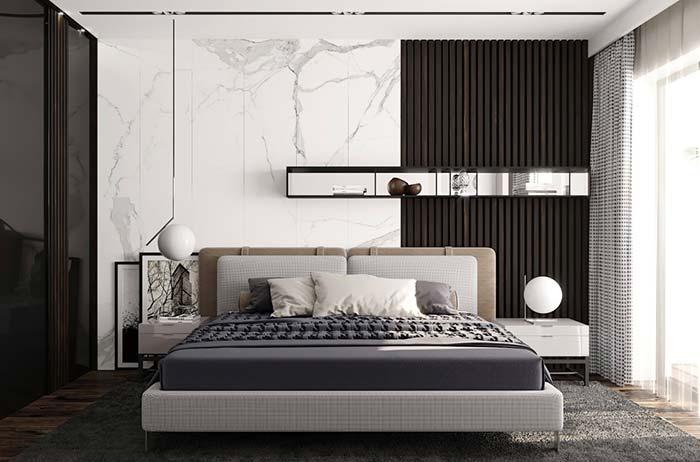 Visual único e sofisticado com mármore branco no quarto de casal