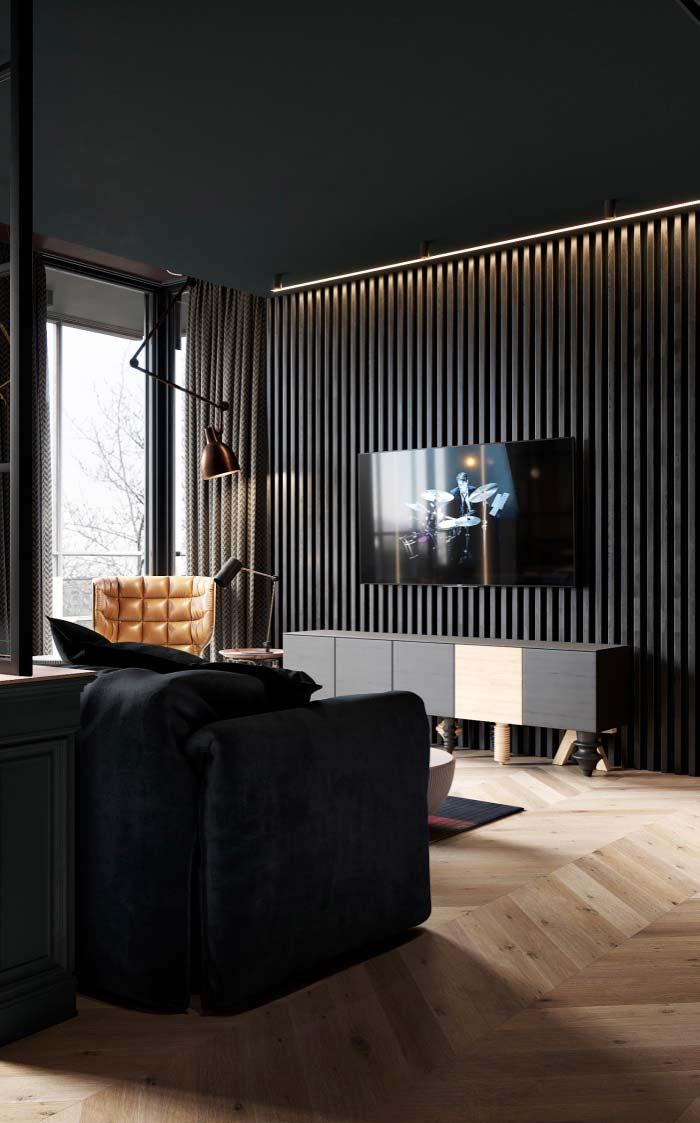 Rack preto na decoração da sala