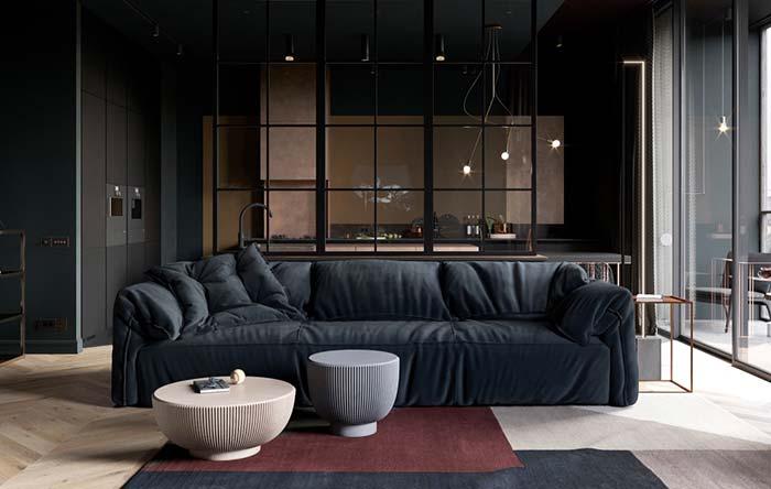 Modelo de sofá azul marinho de veludo