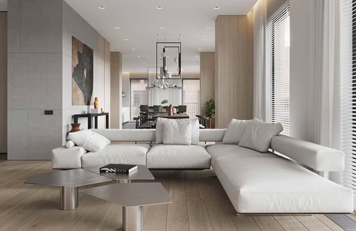 Sofá de canto branco com pés de metal