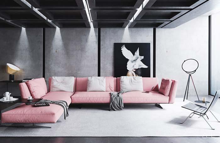Sofá rosa na sala