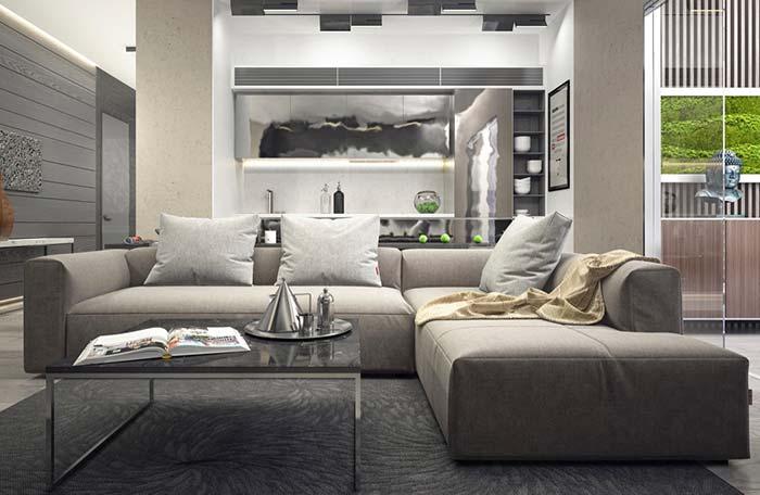 Almofadas que compensam o encosto do sofá