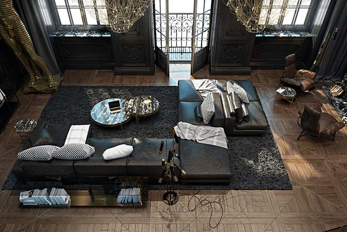 Modelo de sofá preto