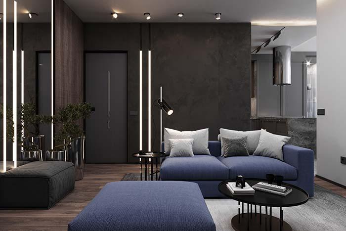 Sofá modulado na sala pequena