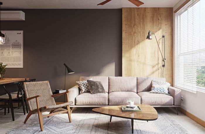 Sofá de linho de cor clara e neutra