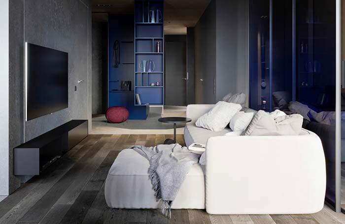 Sofá branco de suede