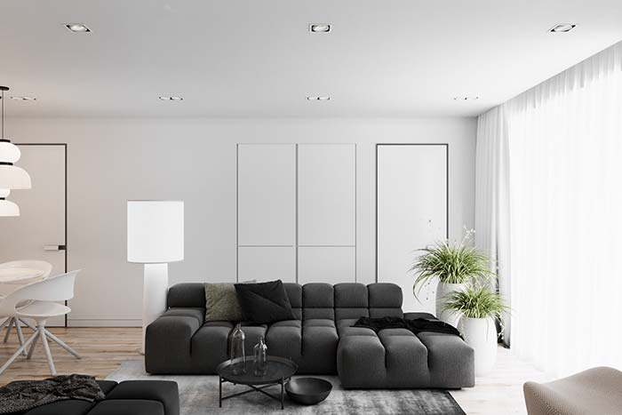 Sofá preto de elastano