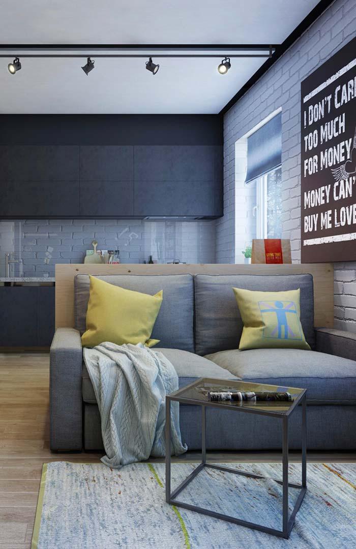 Decoração de apartamento pequeno com sofá retrátil
