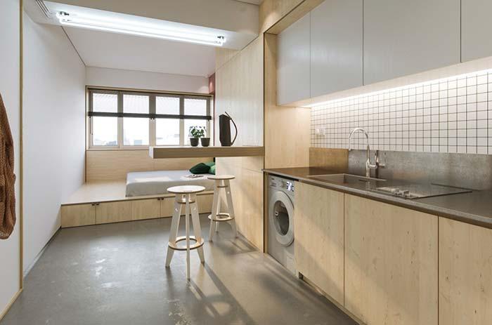 Decoração de apartamento pequeno com ausência de elementos decorativos