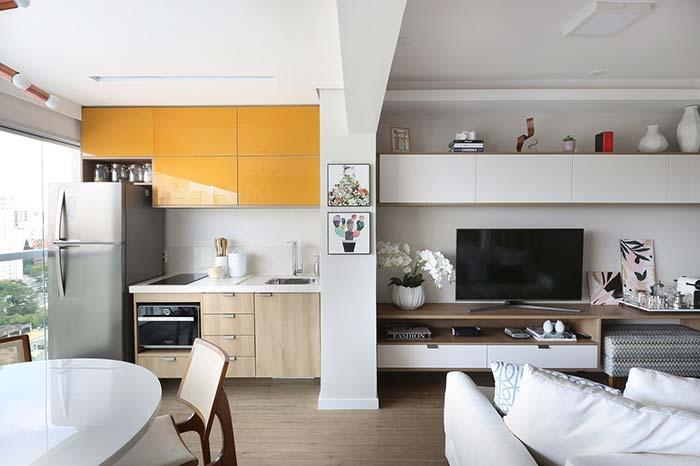 Varanda cozinha em apartamento pequeno