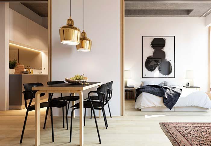 Um toque de preto na decoração de apartamento pequeno