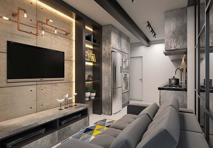Decoração de apartamento pequeno no estilo industrial