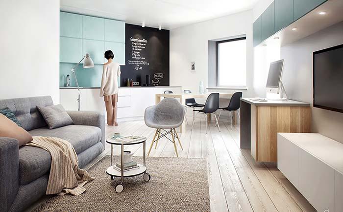 Mesinha com rodinhas na decoração de apartamento pequeno