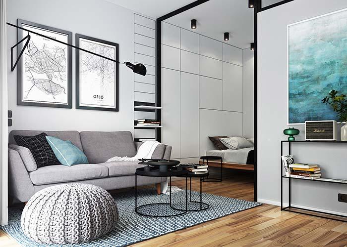 Decoração de apartamento pequeno com poucos elementos