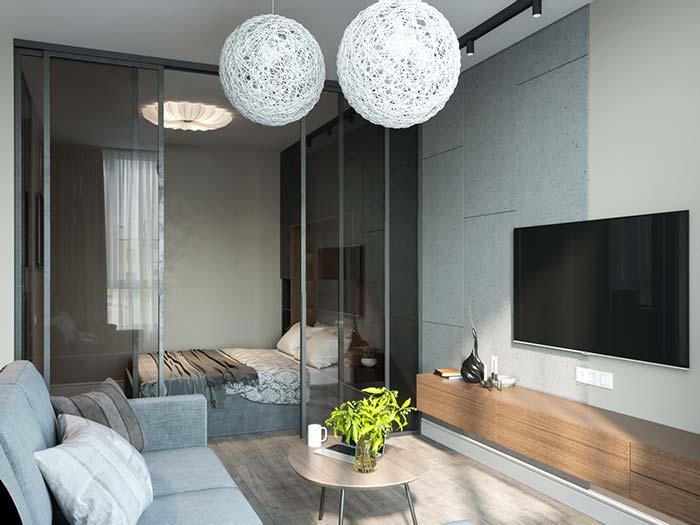 Apartamento pequeno com portas de vidro de correr
