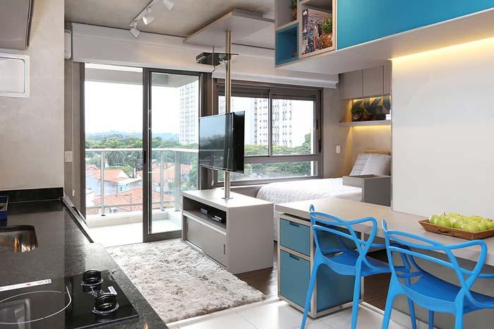 Azul na decoração de apartamento pequeno
