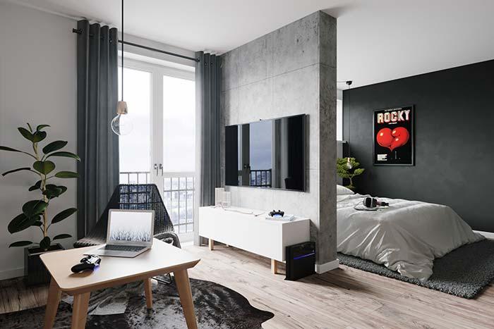 Parede preta em apartamento pequeno