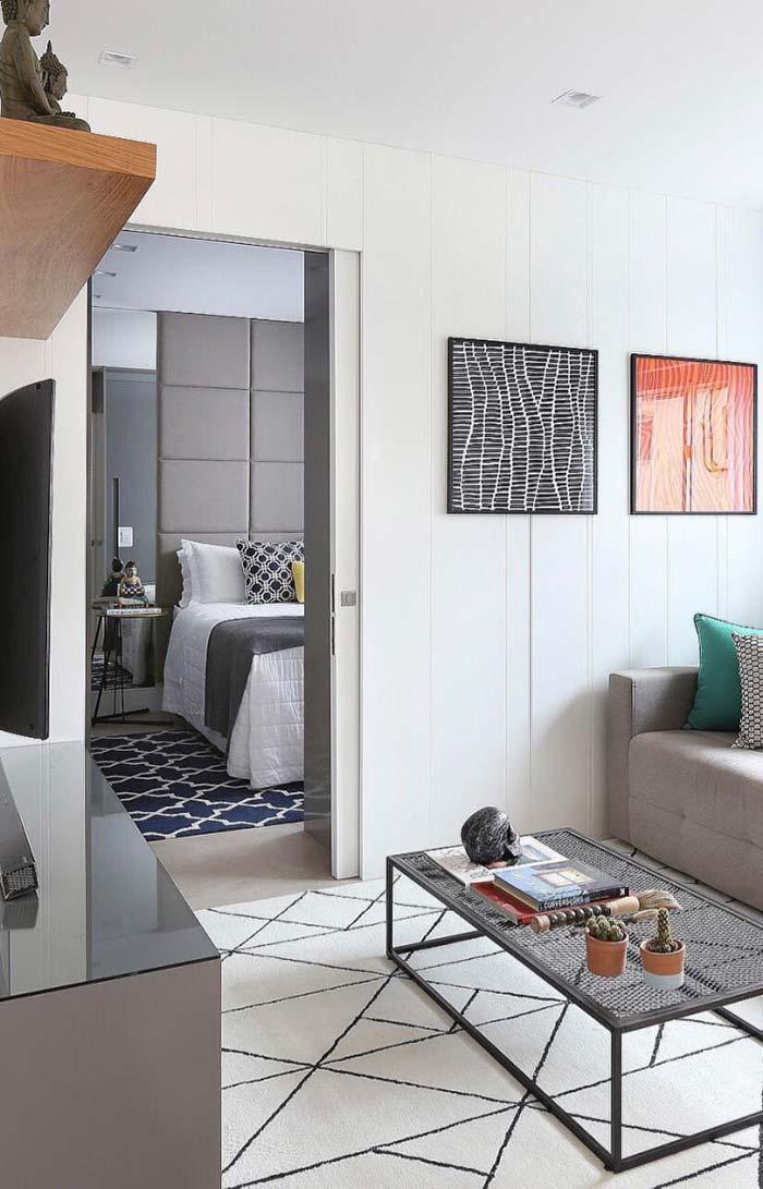 Porta de correr na decoração de apartamento pequeno