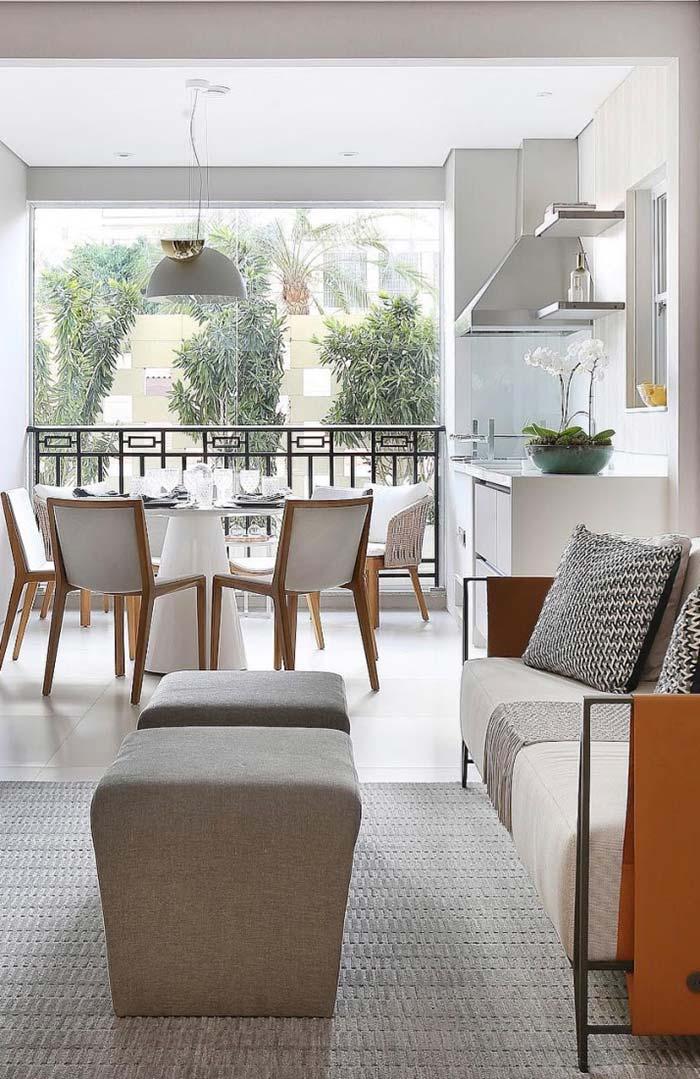 Ambientes integrados na decoração de apartamento pequeno