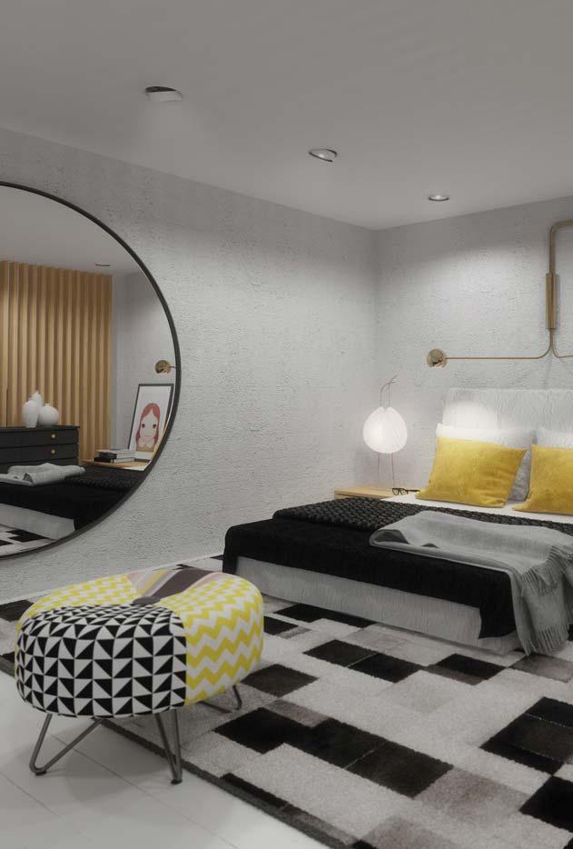 Espelho redondo para quarto moderno