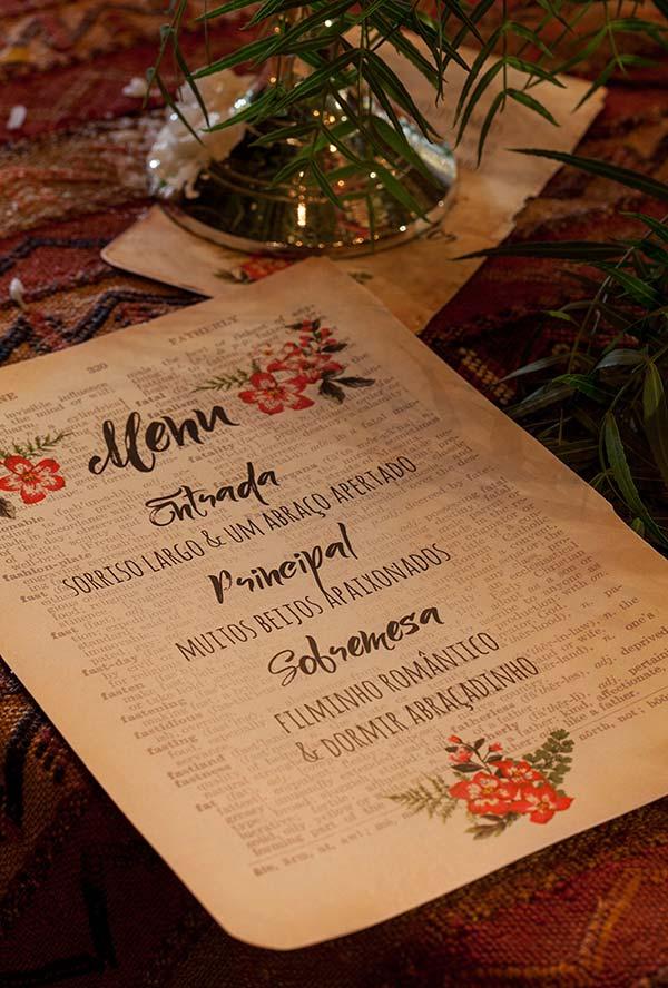 Cardápio personalizado para jantar romântico