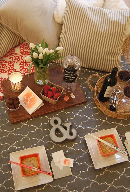 Jantar romântico informal e descontraído