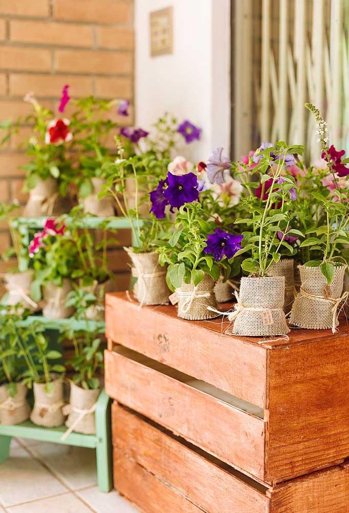 Uma ótima opção de lembrancinha para uma festa piquenique é entregar para cada convidado uma muda com flores e plantas.