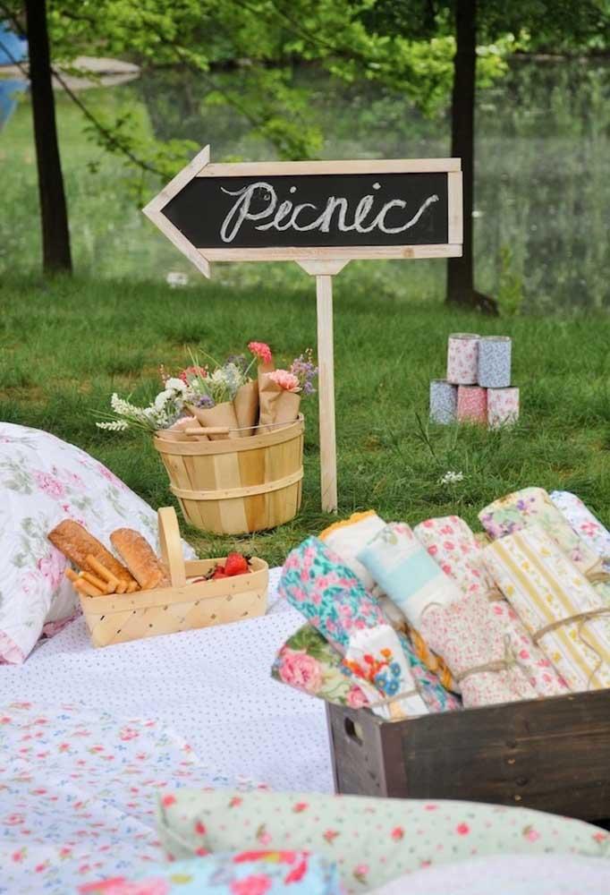 Que tal fazer uma festa infantil piquenique no jardim, com toalhas na grama e cestas com guloseimas?