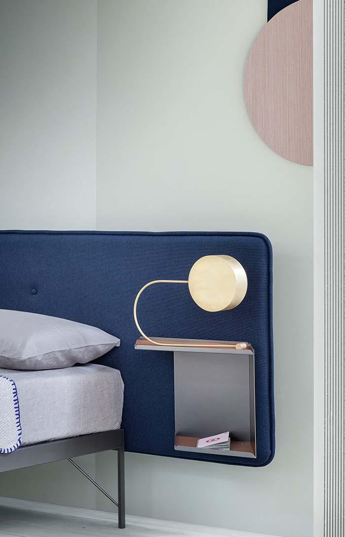Cabeceira de cama azul royal