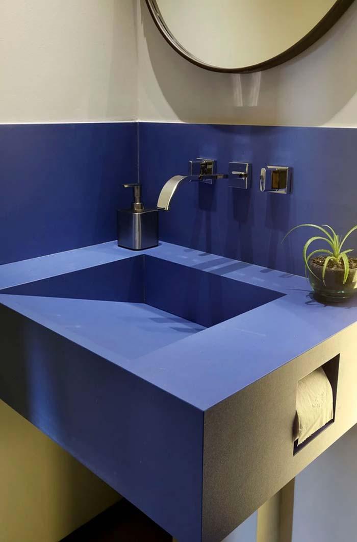 Bancada moderna azul royal e cinza