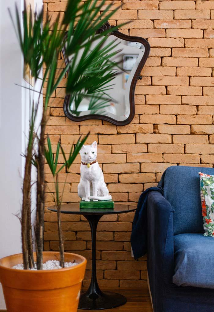 Planta e parede de tijolos