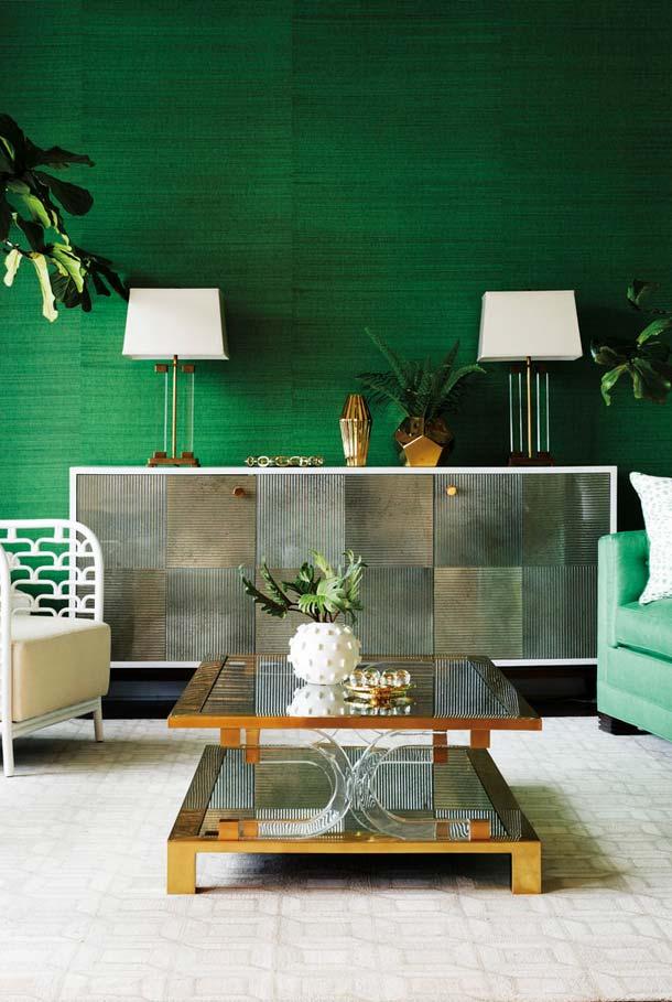 Plantas para sala na parede verde