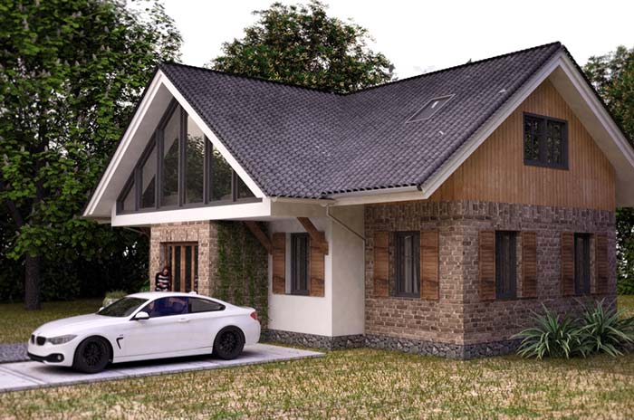 Pedra, madeira e tijolinhos compõe a fachada dessa casa rústica
