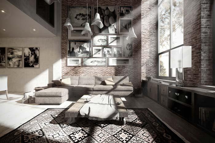 Parede de tijolos e decoração preta e branca