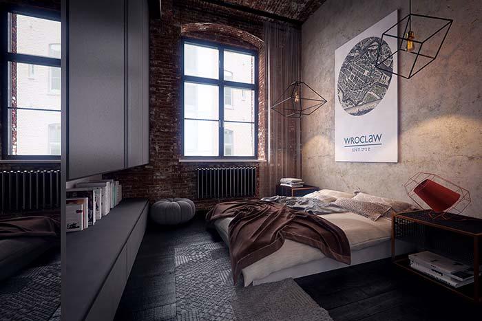 Parede de tijolos contorna o quarto do casal