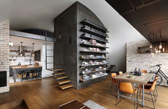Projeto de ambientes integrados com parede de tijolos