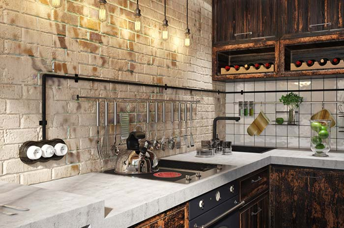 Cozinha rústica com tijolos aparentes