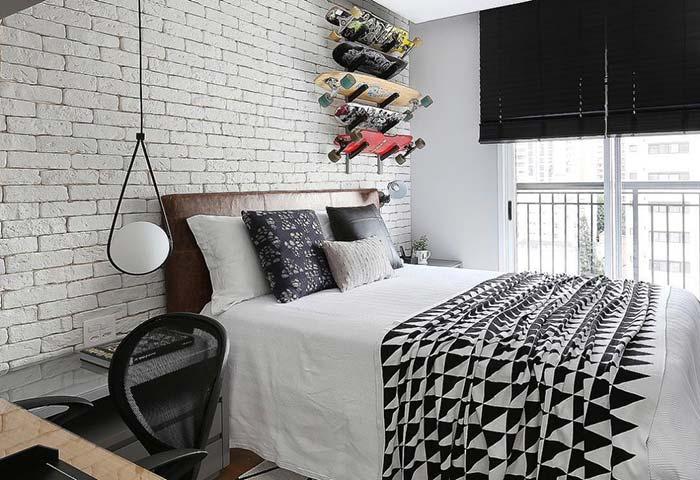 Parede de tijolos para quarto jovem
