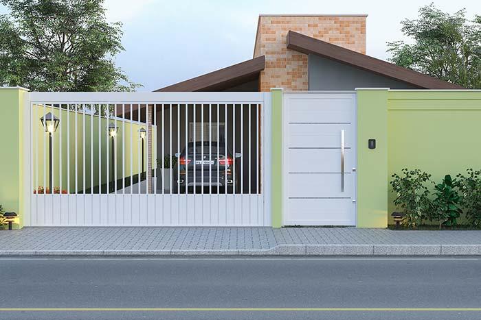 Portão de alumínio branco para a garagem