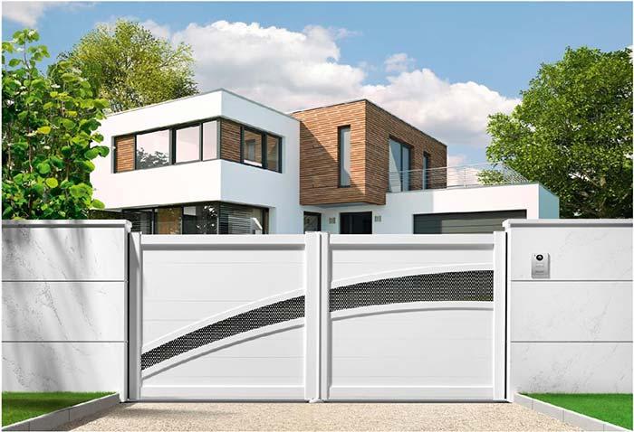 Portão de alumínio com design diferenciado