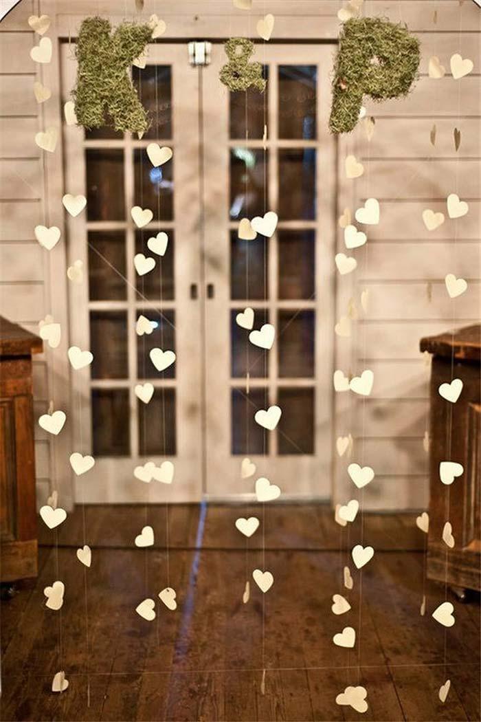 Cortininha de corações na recepção